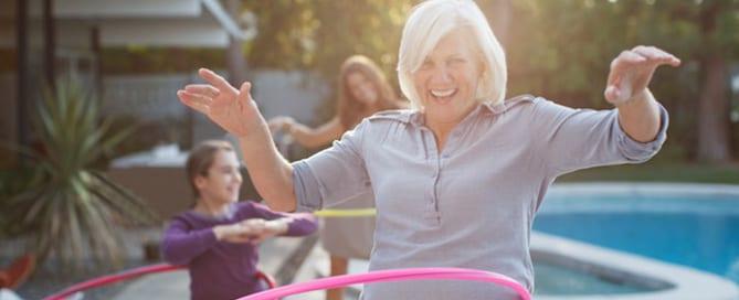 older woman with hula hoop